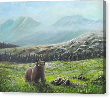 Canvas Print featuring the painting Lonely Bear by Bozena Zajaczkowska