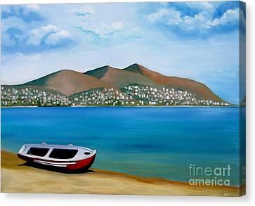 Lonely Boat Canvas Print by Kostas Koutsoukanidis