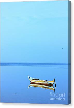 Canvas Print featuring the photograph Lonely Boat by Mohamed Elkhamisy