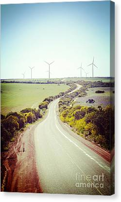 Lonely Country Road And Wind Farm Western Australia Canvas Print by Colin and Linda McKie