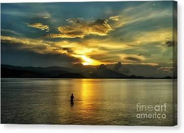 Lonely Fisherman Canvas Print