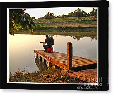 Lonely Guitarist Canvas Print by Debbie Portwood