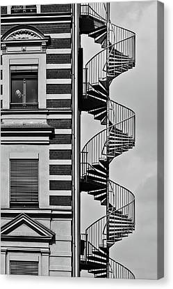 Fire Escape Canvas Print - Lonely Man by Christian M?ller
