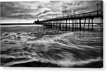 Canvas Print featuring the photograph Lonely Man On The Pier by Ryan Weddle