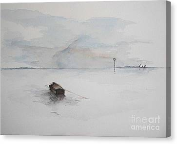 Canvas Print featuring the painting Lonely Mooring by Sibby S