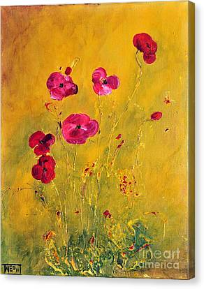 Canvas Print featuring the painting Lonely Poppies by Teresa Wegrzyn