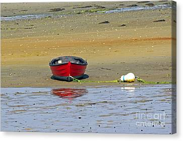 Canvas Print featuring the photograph Lonely Red Boat by Sebastian Mathews Szewczyk