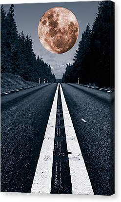 Lonely Road And Full Moon Canvas Print by Christian Lagereek