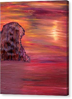 Canvas Print featuring the painting Lonely Rock by Vadim Levin