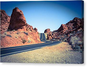 Lonely Southwestern Road Canvas Print by Laura Palmer