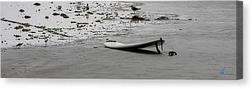 Canvas Print featuring the photograph Lonely Surfboard by Chris Thomas