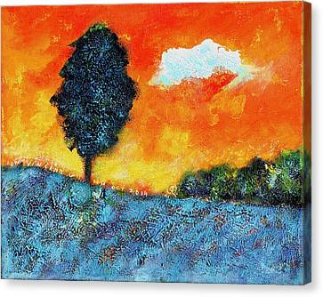 Lonely Tree Orange Sky Canvas Print by Ion vincent DAnu