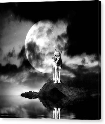 Lonely Wolf With Full Moon Canvas Print by Jaroslaw Grudzinski