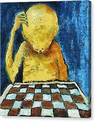 Lonesome Chess Player Canvas Print by Michal Boubin