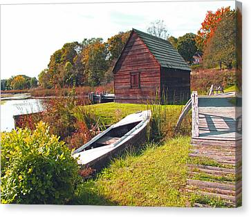 Rose Cottage Gallery Canvas Print - Long Ago Along The Marsh by Barbara McDevitt