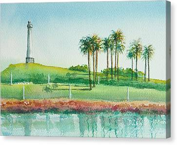 Long Beach Lighthouse Canvas Print by Debbie Lewis