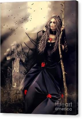 Long Black Veil Canvas Print