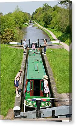 Towpath Canvas Print - Long Boat by Ashley Cooper