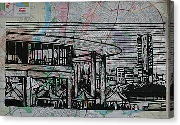 Long Center On Map Canvas Print by William Cauthern