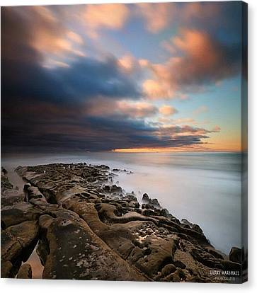 Long Exposure Sunset Of An Incoming Canvas Print by Larry Marshall