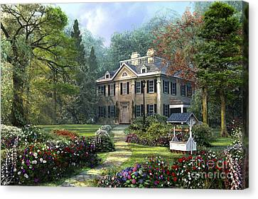 Pathway Canvas Print - Long Fellow House by Dominic Davison