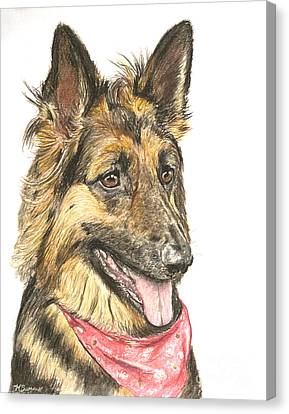 Long Haired German Shepherd In Red Bandana Canvas Print by Kate Sumners