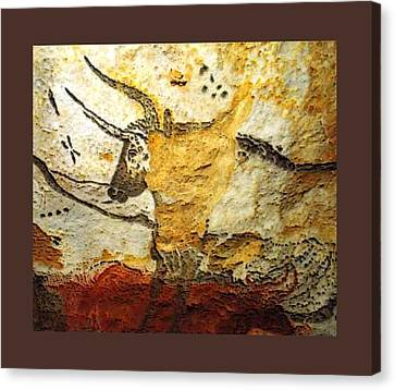 Long Horn Bull Lascaux Cave Upsized Little Enhanced Canvas Print by L Brown