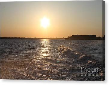Reflections Of Sun In Water Canvas Print - Long Island Sunrise by John Telfer