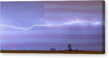 Long Lightning Bolt Across American Oil Well Country Sky Canvas Print by James BO  Insogna