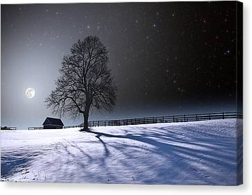 Canvas Print featuring the photograph Long Moonrise Shadows by Larry Landolfi