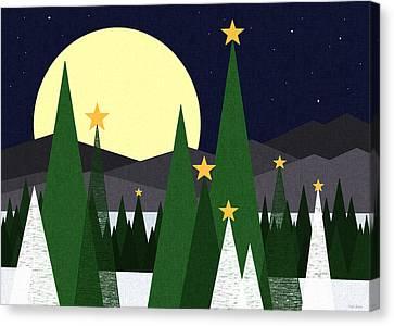 Snowy Night Night Canvas Print - Long Night Moon by Val Arie
