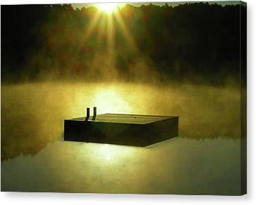 Long Pond Swimming Dock In Mist Canvas Print by Baratz Tom