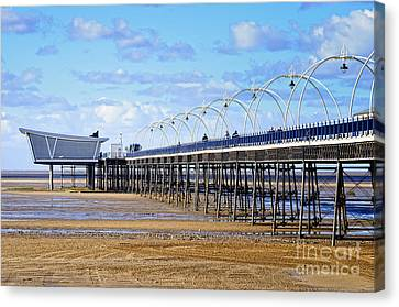 Long Seaside Pier At Southport - England Canvas Print by David Hill