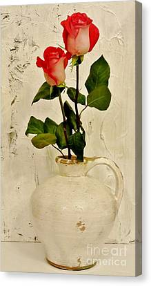 Long Stemmed Red Roses In Pottery Canvas Print by Marsha Heiken