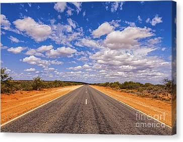 Clouds Canvas Print - Long Straight Road Australia Outback by Colin and Linda McKie