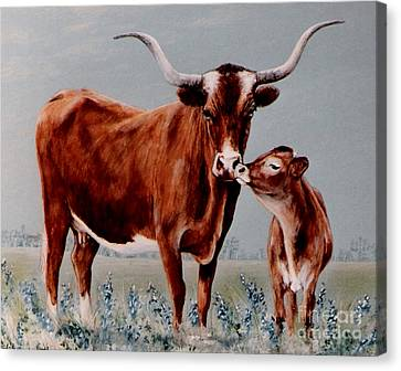 Canvas Print featuring the painting Longhorn Cow And Calf by DiDi Higginbotham