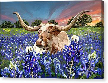 Texas Longhorn Canvas Print - Longhorn In Bluebonnets by Tim Gilliland