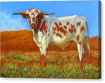 Canvas Print featuring the painting Longhorn In The Australian Outback by Margaret Stockdale