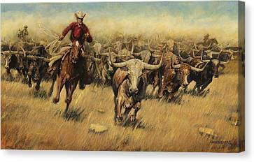 Longhorn Stampede Canvas Print by Don  Langeneckert