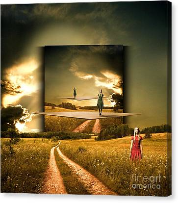 Longing Waiting For The Love With My Red Dress Canvas Print