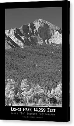 Longs Peak 14259 Ft Black And White Poster Canvas Print by James BO  Insogna