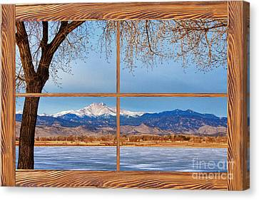 Longs Peak Across The Lake Barn Wood Picture Window Frame View Canvas Print by James BO  Insogna