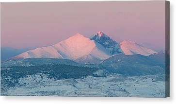 Longs Peak Alpenglow In Winter Canvas Print by Aaron Spong