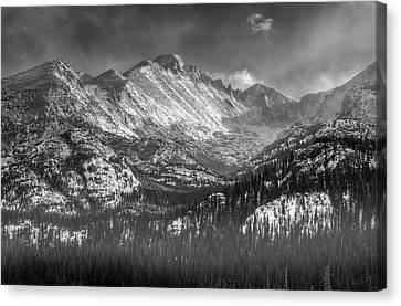 Longs Peak Rocky Mountain National Park Black And White Canvas Print