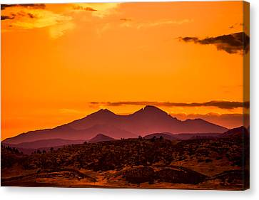 Longs Peak Smoke And Sunset Canvas Print by Rebecca Adams