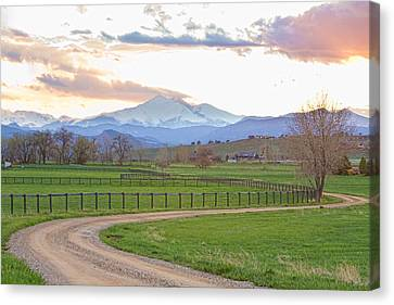 Longs Peak Springtime Sunset View  Canvas Print by James BO  Insogna