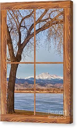 Longs Peak Winter Lake Barn Wood Picture Window View Canvas Print