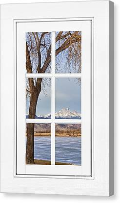 Longs Peak Winter View Through A White Window Frame Canvas Print