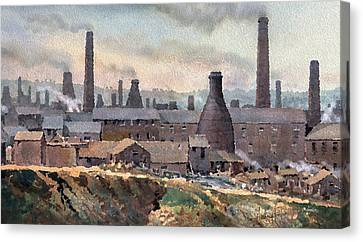 Longton Pot Works Canvas Print by Anthony Forster