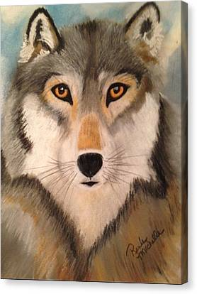 Looking At A Timber Wolf Canvas Print by Renee Michelle Wenker